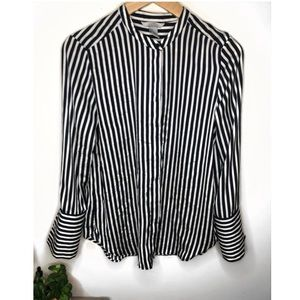 Blue & White Striped Blouse with Bell Sleeves